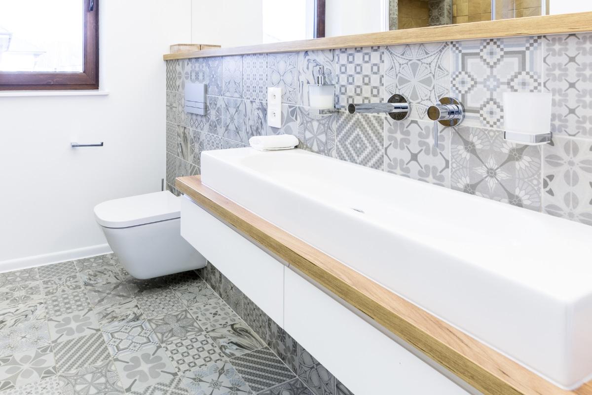 Badkamer cementtegels