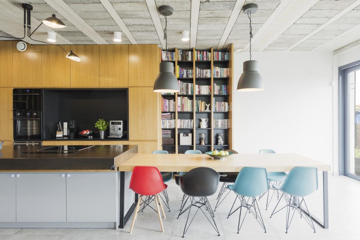 industrieel interieur met hout